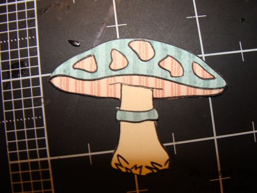 Step 5 Adhere pink dots to mushroom top