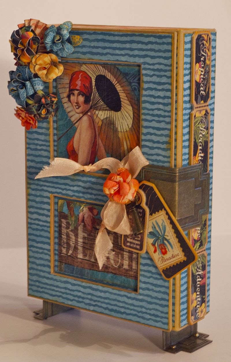 Graphic 45 Tropical Travelogue Altered Art Box 5x8 Diane Schultz