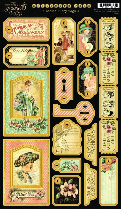 A Ladies Diary Chipboard Tags 2