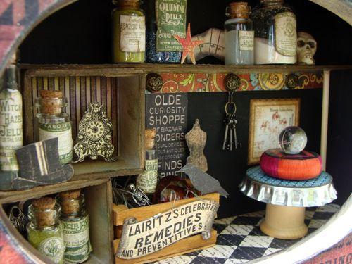 9  Nicole Eccles Olde Curiosity Shoppe Altered Apothecary cart