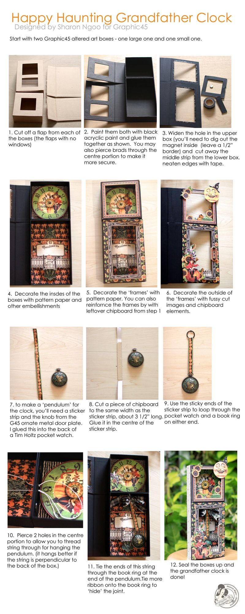 Graphic45 Sharon Ngoo Grandfather Clock Happy Haunting Tutorial