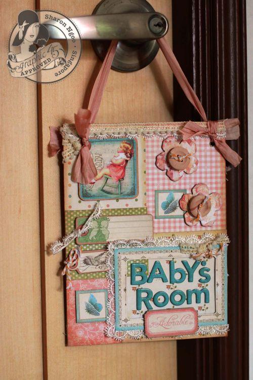 Graphic45 Sharon Ngoo door hanger Little darlings (back)