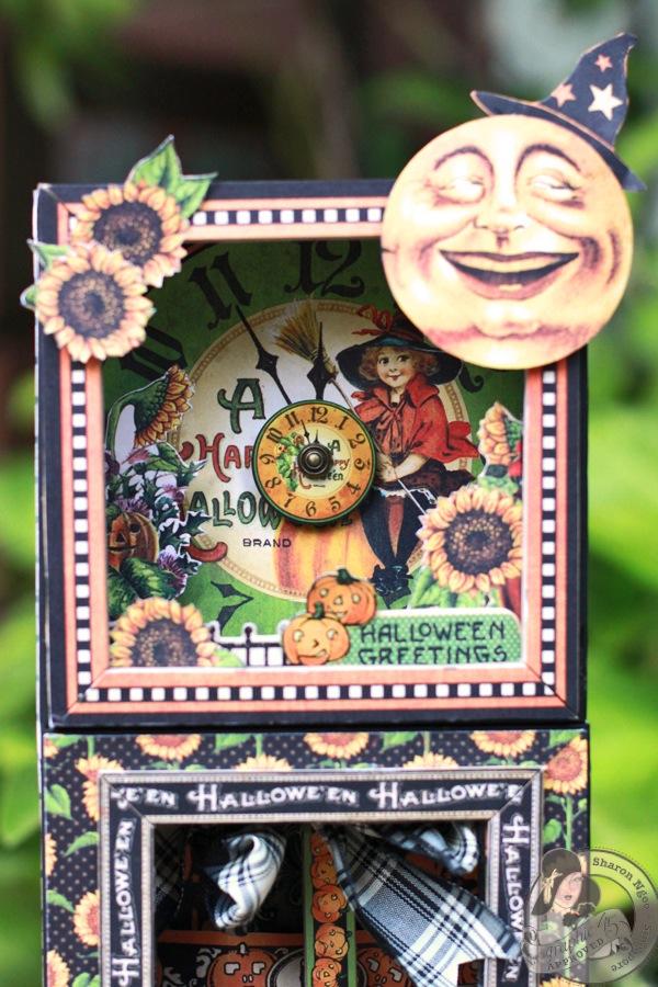 Graphic45 Sharon Ngoo Grandfather Clock Happy Haunting (clock face)