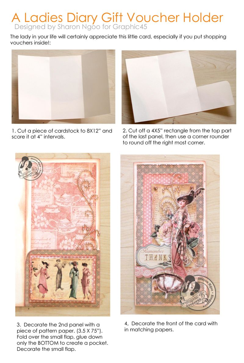 Graphic45 Sharon Ngoo A Ladies Diary Gift Voucher Holder Tutorial
