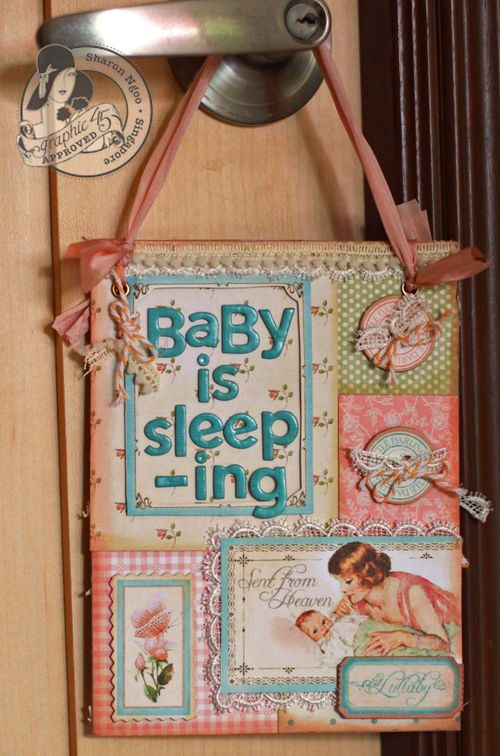 Graphic45 Sharon Ngoo door hanger Little darlings (front)