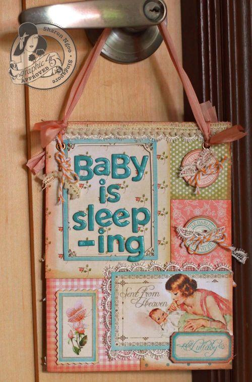 Graphic45 Sharon Ngoo door hanger Little darlings (front)