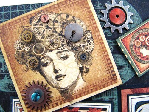 Steampunk Clock Lady detail