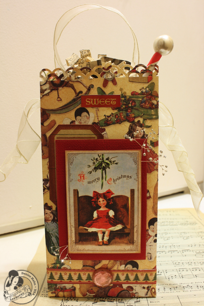 Denise Hahn Graphic 45 Scrapbook Adhesive Vintage Christmas Gift Bags - 11-imp