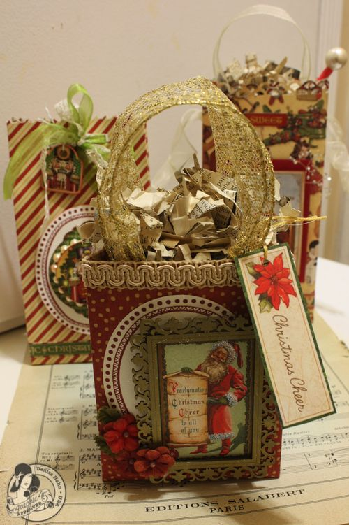 Denise Hahn Graphic 45 Scrapbook Adhesive Vintage Christmas Gift Bags - 02-imp