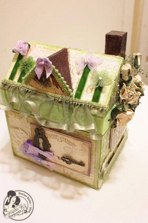 Denise Hahn Place in Time and Secret Garden Paper Mache Cottage - 8-imp