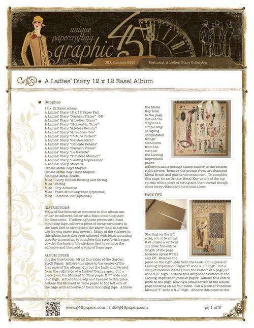 Graphic45-ALadiesDiary12x12EaselAlbum_2pg1