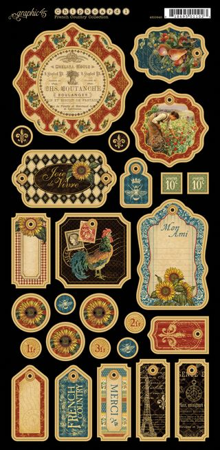 French Country chipboard tags 1 PR