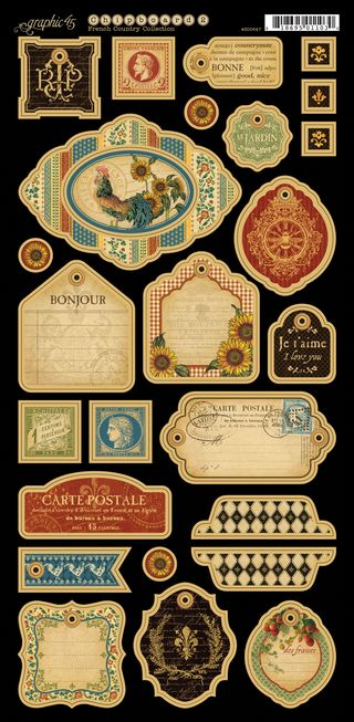 French Country chipboard tags 2 PR
