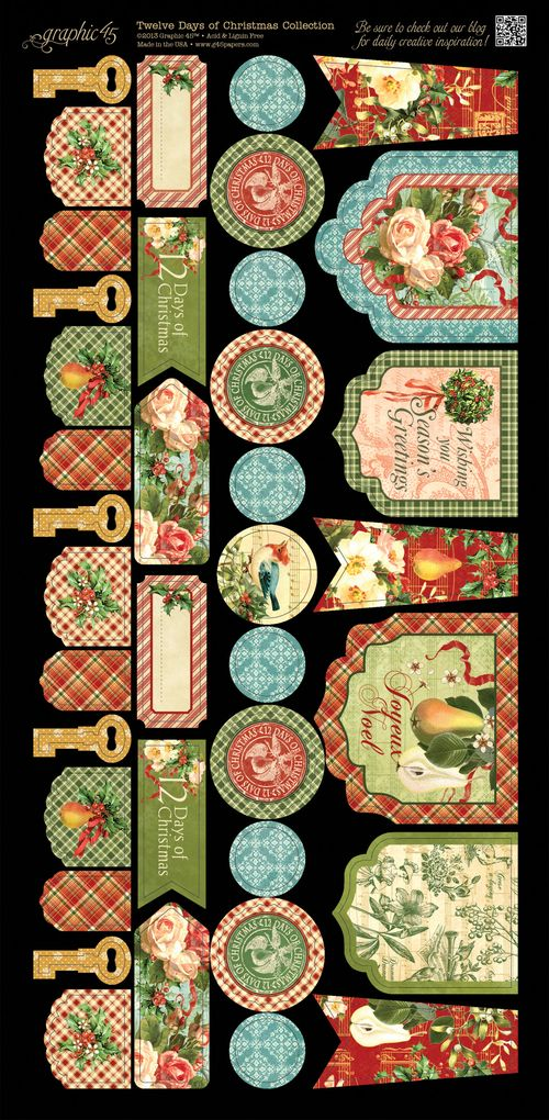 Graphic 45 Tweleve Days of Christmas Cardstock embellishment sneak peek CHA Summer 2013