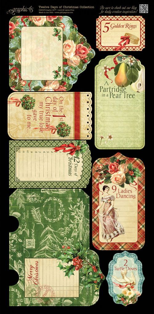 Graphic 45 Tweleve Days of Christmas Cardstock embellishment sneak peek CHA Summer 2013 tags & pockets