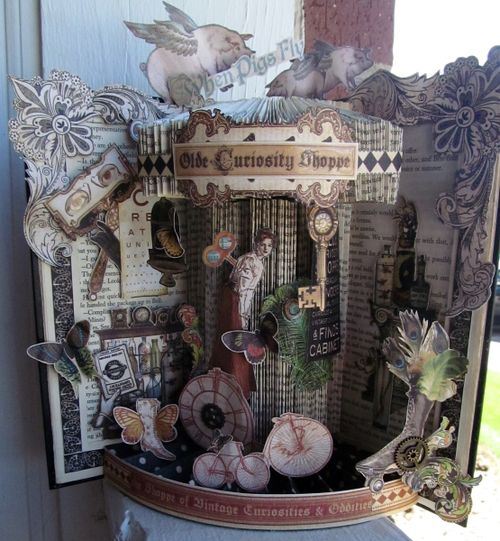 Olde Curiosity Shoppe altered book home decor Graphic 45 Shauna Hunt