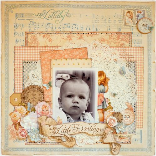 Little Darlings layout Graphic 45 Romy Veul