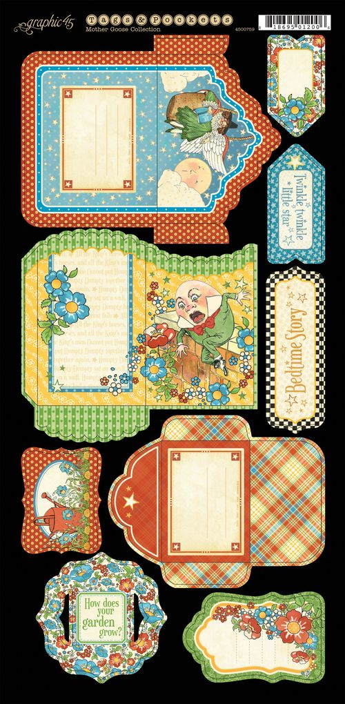 Mother Goose Graphic 45 Sneak Peek CHA Summer 2013 cardstock banner flower tags & Pockets embellishments