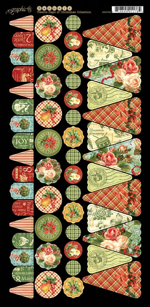 Graphic 45 Tweleve Days of Christmas Cardstock embellishment sneak peek CHA Summer 2013 banners