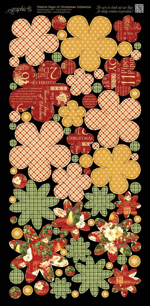 Graphic 45 Tweleve Days of Christmas Cardstock embellishment sneak peek CHA Summer 2013 flowers