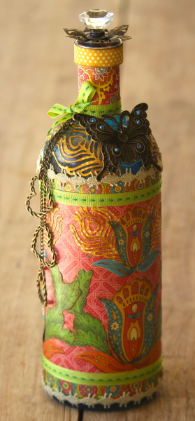 Rebecca Morris Graphic 45 Bohemian Bazzar upcycled bottle home decor altered art