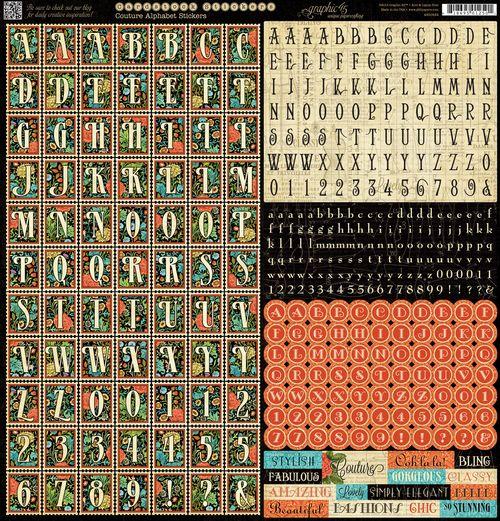Couture alphabet stickers 150 dpi