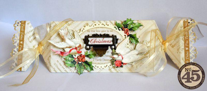 Karen Shady Graphic 45 12 Days of Christmas Scor Pal blog hop gift bon bon box tutorial