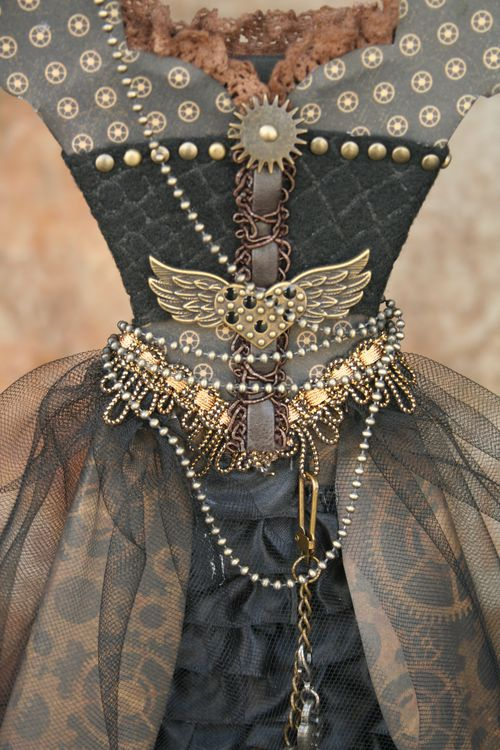 Steampunk outfit closeup dress