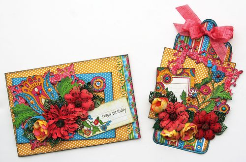 Bohemian Bazaar tag and card