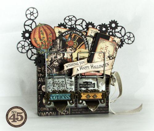 Graphic45-Steampunk Spells-Alberto Juarez-mini album tag Halloween