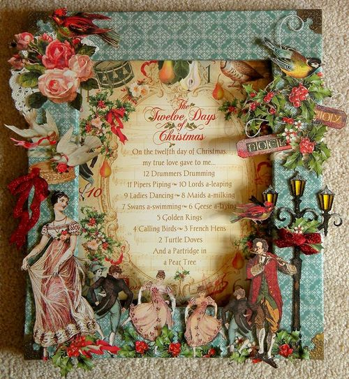 Graphic 45 12 Days of Christmas Altered Frame Gift Debby Lewis