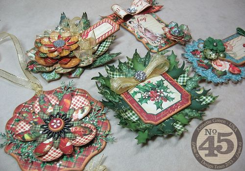 12-Days-of-Christmas-Tags-&-Bows-Graphic45-Annette-Green-gift, home decor, holiday, tutorial