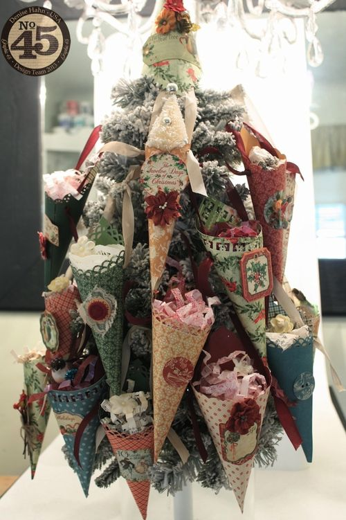 Denise_Hahn_Graphic_45_12_Days_of_Christmas_Easy_Cone_Ornaments - home decor, gift, tutorial, video