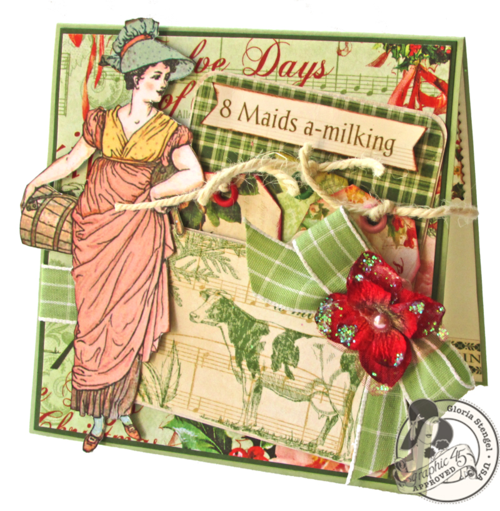 Graphic 45 12 Days of Christmas Gloria Stengel card holiday gift tutorial