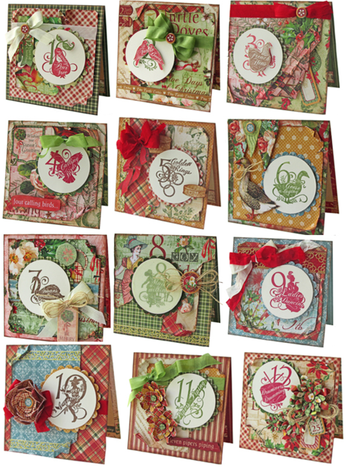 Graphic 45 Gloria Stengel Twelve Days of Christmas cards, holiday, project sheet, tutorial, download