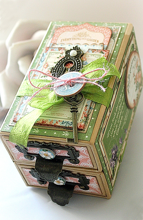 Graphic 45 Secret Garden altered small matchbook box Robin Shakoor