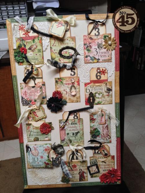 Pocket-Advent-Canvas-12-Days-of-Christmas-Graphic45-Denise-Johnson-holiday, home decor, photo tutorial