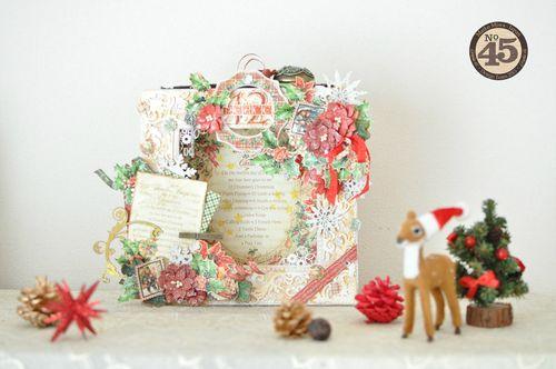 Maiko Miwa Graphic45 Matchbookbox 12days of Christmas frame deco#1