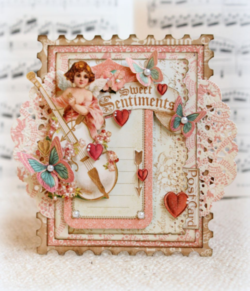 Graphic 45 Romy Veul Sweet Sentiments card Valentine's Day