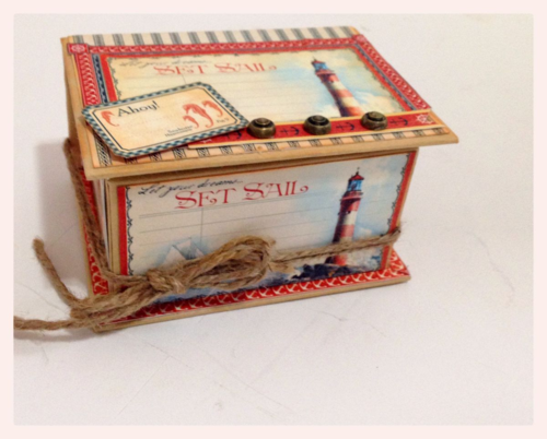 Graphic 45 By the Sea ATC Altered Box Gift Home Decor