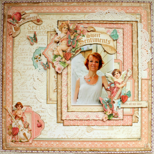 Sweet Sentiments Graphic 45 layout Romy Veul Valentine's Day