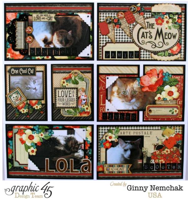 Ginny Nemchak Pocket Scrapbooking Raining Cats & Dogs Layout Graphic 45 Detail 1