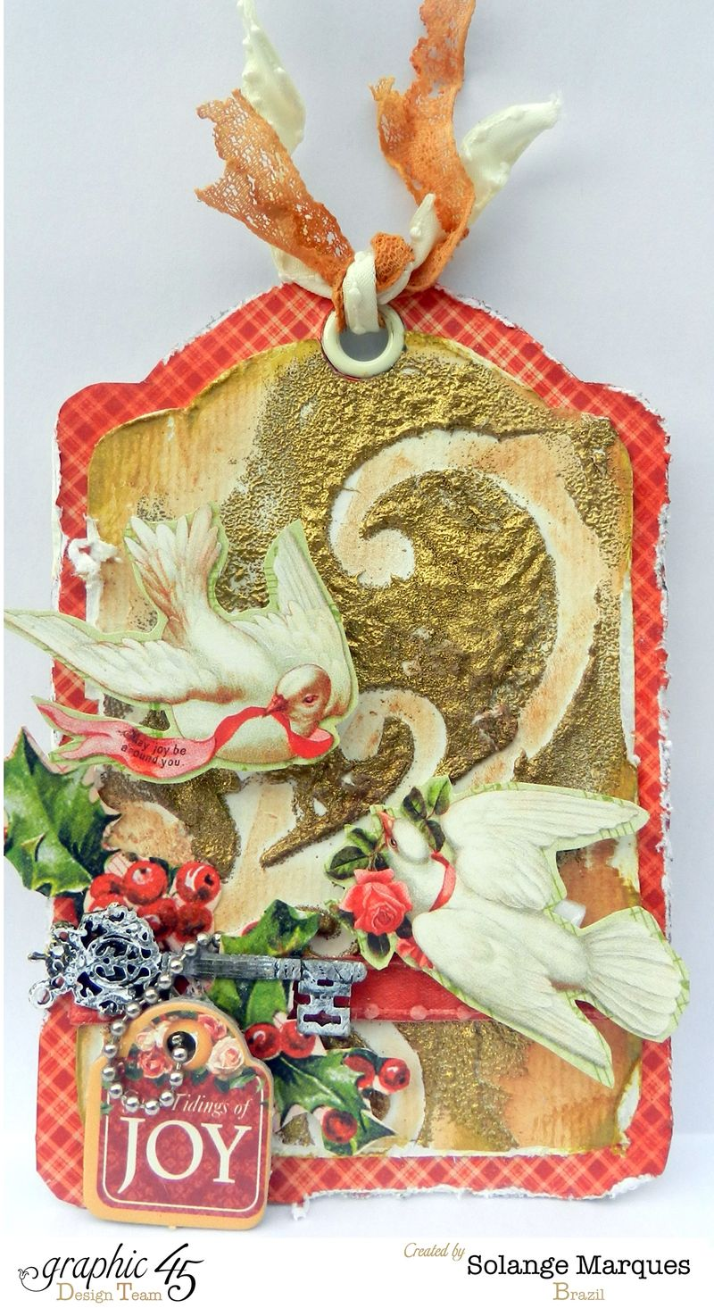 G45 December Project Christmas mixed media tag 1