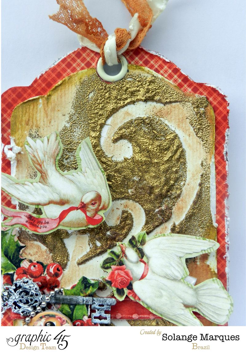 G45 December Project Christmas mixed media tag 2