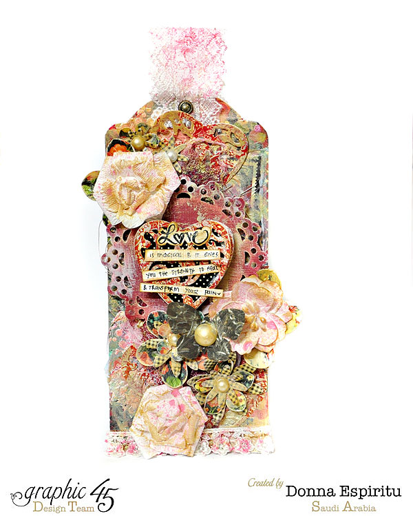 Valentine's Mixed Media Tag filled with butterflies, flowers, pearls and Love.  By Donna Espiritu