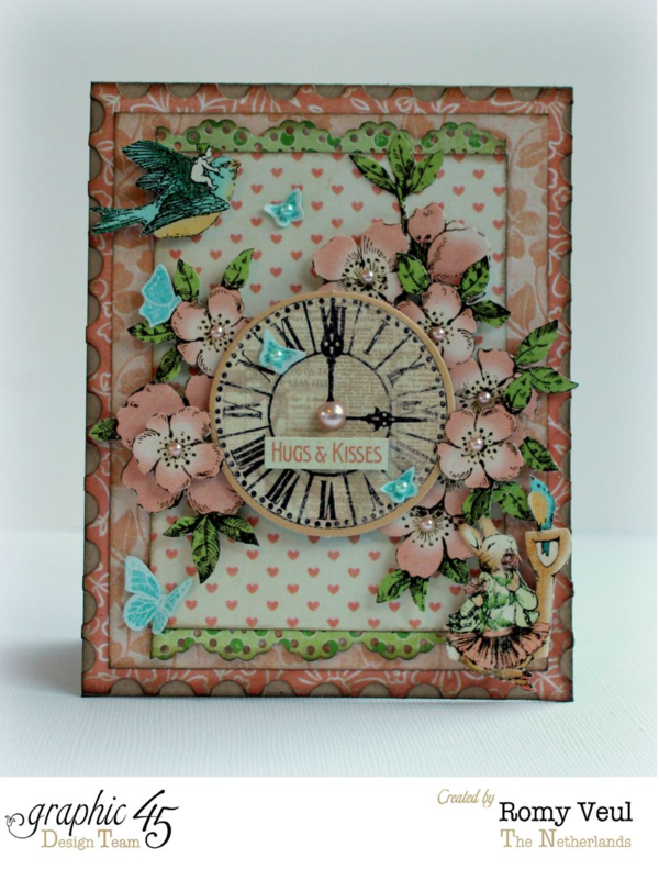 Hugs & Kisses from Graphic 45! Card by Romy using Once Upon a Springtime. Perfect for Valentine's Day!
