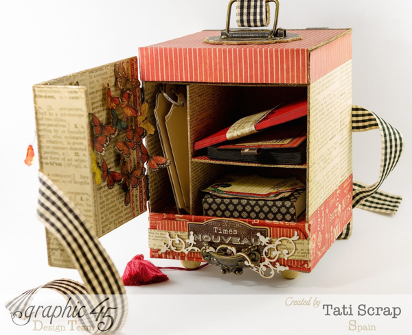 "Hide love letters and sweet nothings in a ""Love Cabinet!"" By Tati Scrap using Graphic 45 Times Nouveau and Typography"