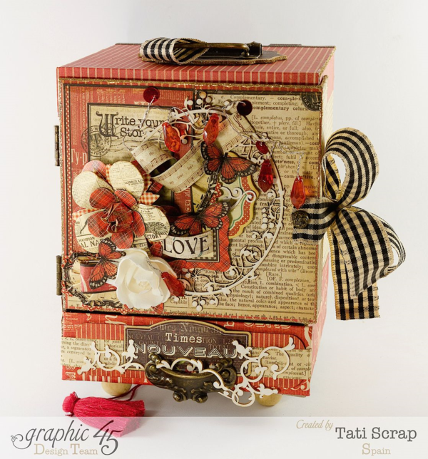 "Tati Scrap made a gorgeous ""Love Cabinet"" filled with glorious love sentiments - perfect for all year round! Show love with Graphic 45!"
