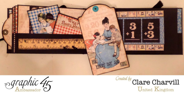Gorgeous tags in this mini album by Clare using Graphic 45 An ABC Primer