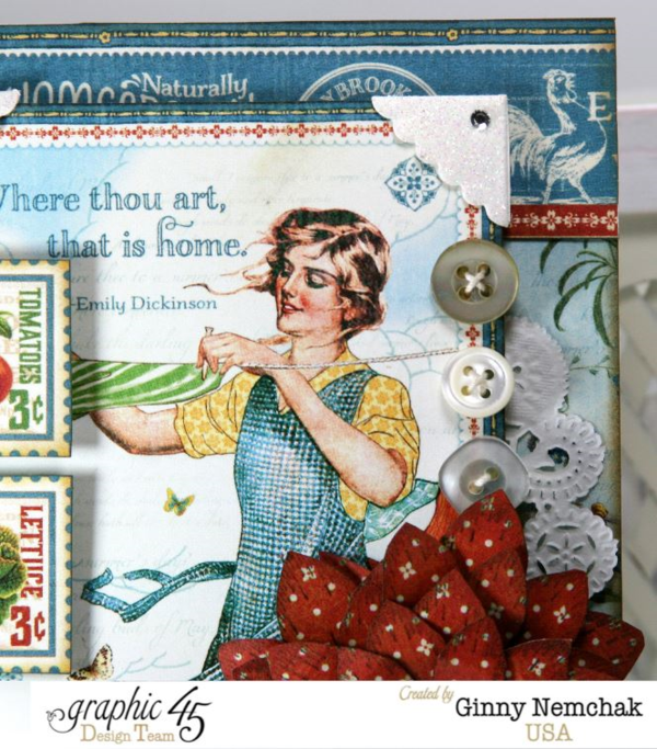 Buttons, florals, and more on this gorgeous Home Sweet Home card by Ginny #graphic45